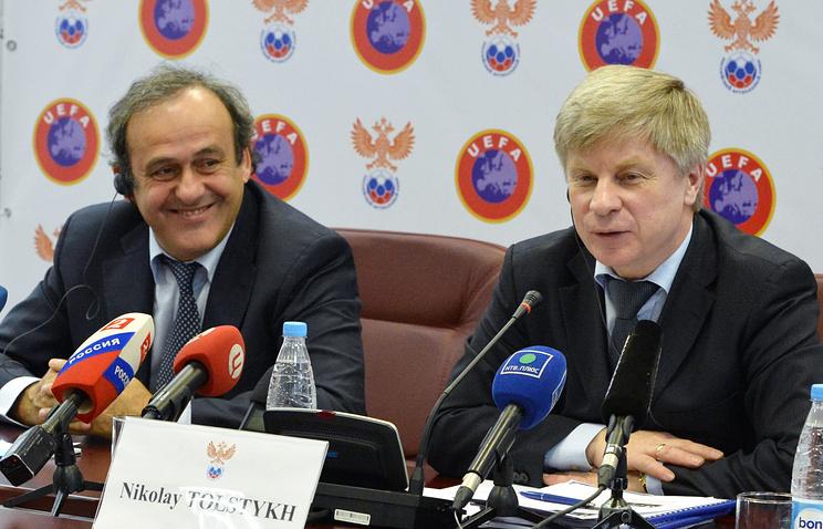 Президент УЕФА Мишель Платини и президент РФС Николай Толстых