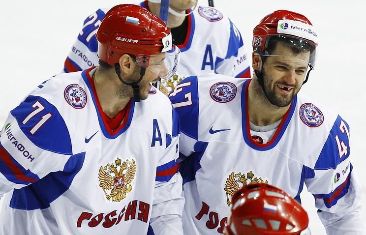Хоккеисты сборной России Илья Ковальчук и Александр Радулов
