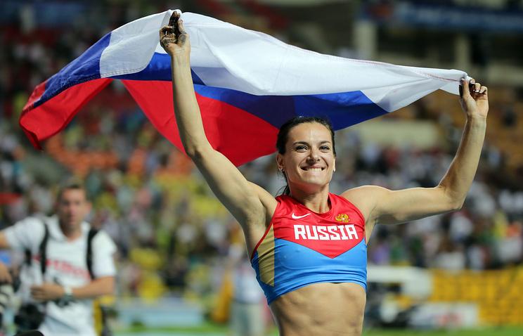 Елена Исинбаева во время чемпионата мира по легкой атлетике в Москве