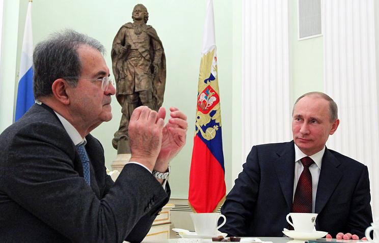 Романо Проди и Владимир Путин (слева направо) во время встречи в Кремле
