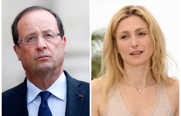 Президент Франции Франсуа Олланд и актриса Жюли Гайе