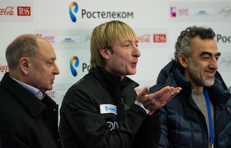 Мишин, Плющенко и хореограф Давид Абдыш (слева направо)