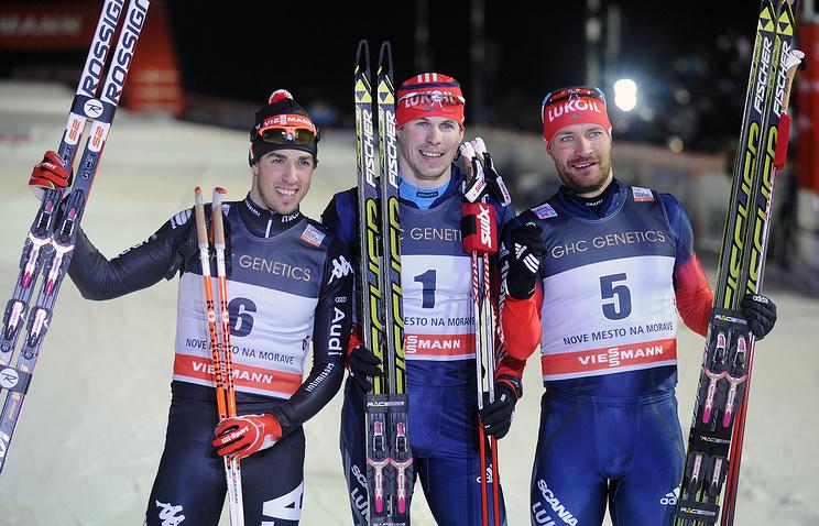 Федерико Пеллегрини, Сергей Устюгов и Алексей Петухов (слева направо)