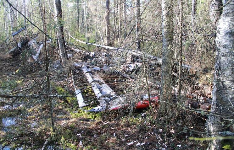 Обломки самолета Ан-2 на месте крушения недалеко от города Серова. Май 2013 года