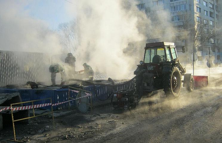 Авария на теплотрассе в Тюмени