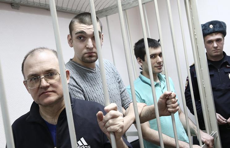 Сергей Кривов, Степан Зимин и Андрей Барабанов во время слушаний в Замоскворецком суде