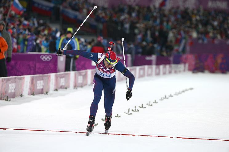 Уле-Эйнар Бьорндален на спринтерской гонке на 10 км на Олимпиаде в Сочи