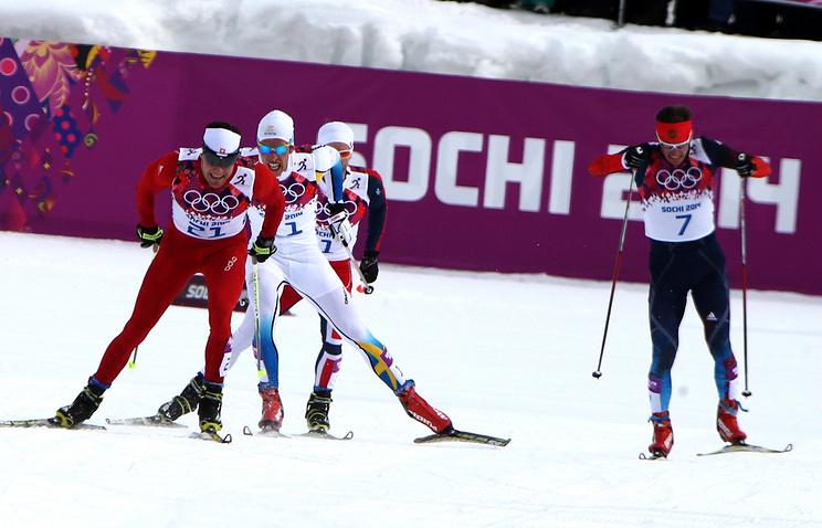 Дарио Колонья, Маркус Хельнер, Мартин Йонсруд Сундбю и Максим Вылегжанин (слева направо) во время финальных соревнований по скиатлону