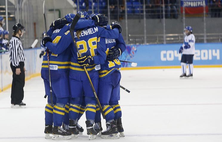 Радость шведских хоккеисток