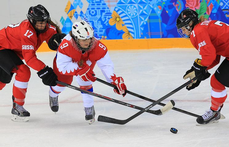 Момент из матча 1/4 финала Россия - Швейцария