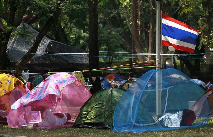 Лагерь оппозиционеров в парке Люмпини, Бангкок