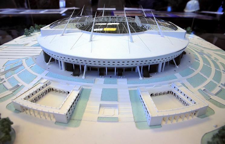 Макет нового футбольного стадиона в западной части Крестовского острова