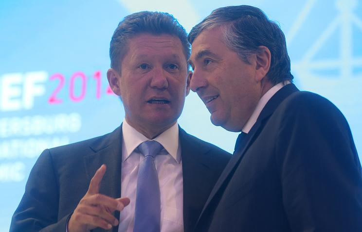 """Председатель правления """"Газпрома"""" Алексей Миллер и президент, вице-председатель совета директоров GDF Suez Жан-Франсуа Сирелли"""