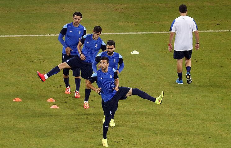 Тренировка сборной Греции по футболу