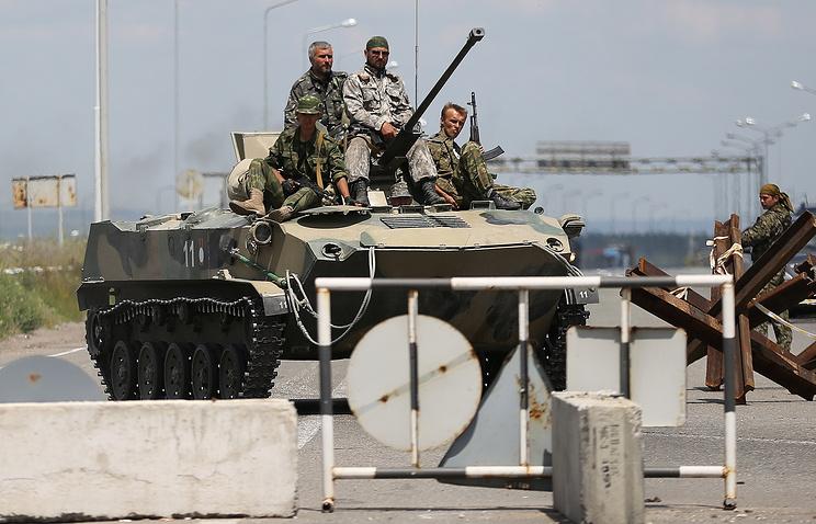 Прибытие колонны народного ополчения из Cлавянска в Донецк
