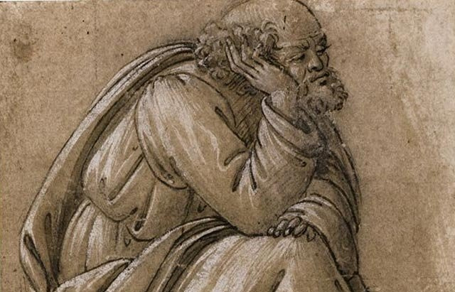 """Рисунок Боттичелли """"Сидящий Святой Иосиф"""""""