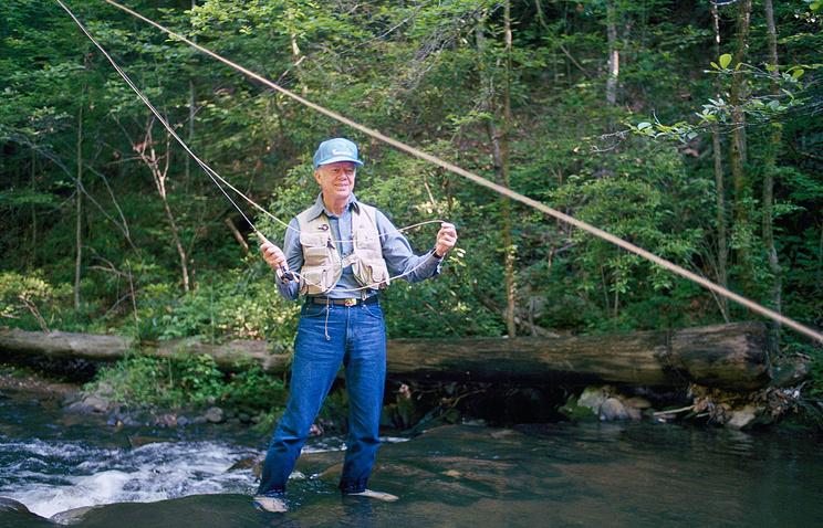 Джимми Картер на рыбалке, 1988 год. США, штат Джорджия