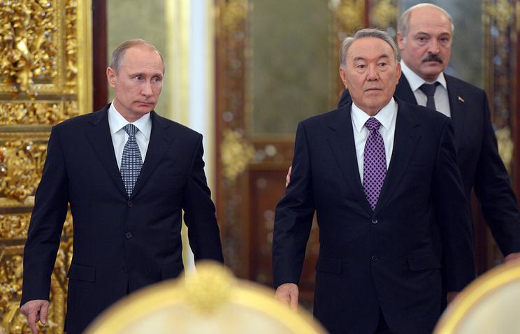 Владимир Путин, Нурсултан Назарбаев и Александр Лукашенко