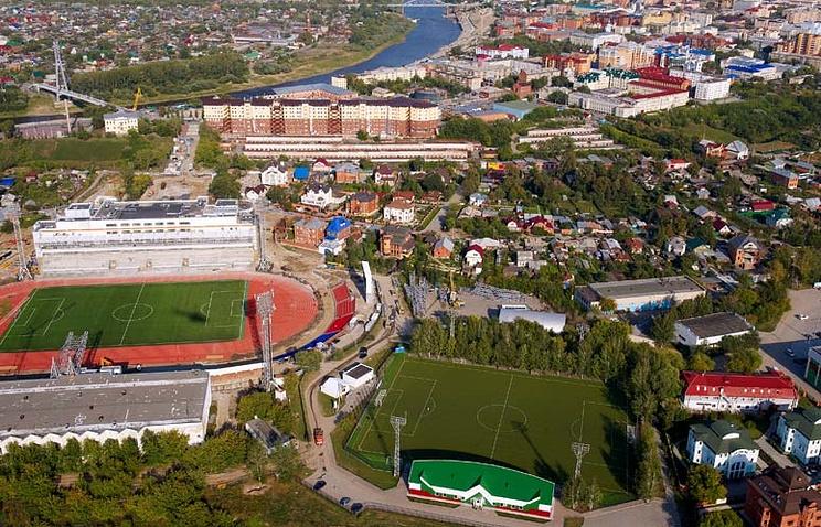 """Вид на стадион """"Геолог"""" в Тюмени"""
