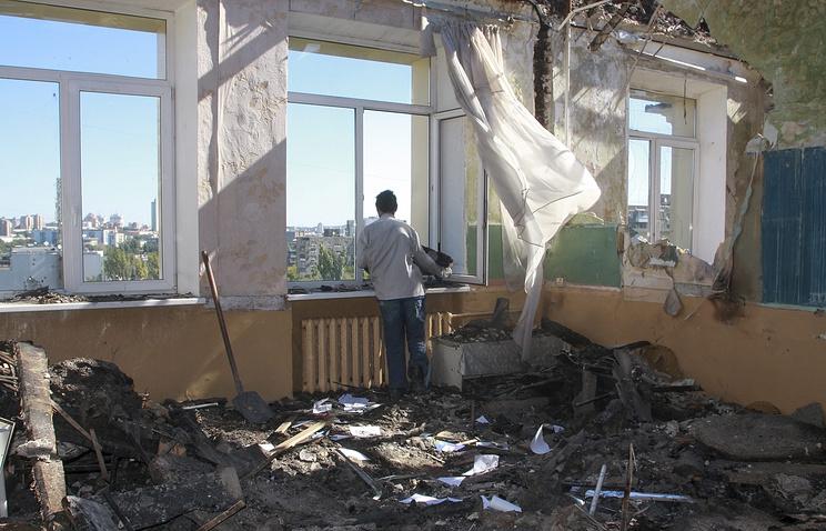 В одном из разрушенных домов Донецка