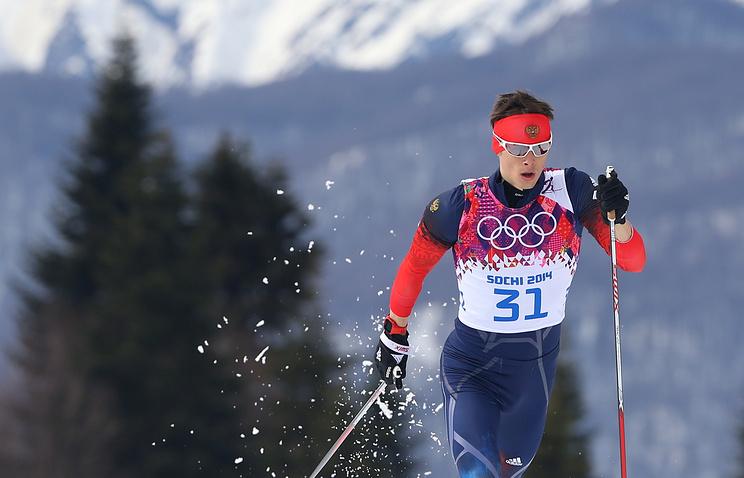 Российский спортсмен Александр Бессмертных во время лыжной гонки на 15 км классическим стилем среди мужчин на XXII зимних Олимпийских играх