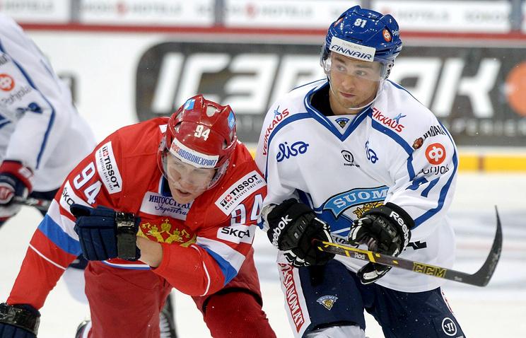 Эпизод из матча Россия - Финляндия