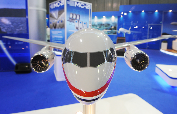 Макет нового гражданского узкофюзеляжного самолета МС-21 компании «Иркут»