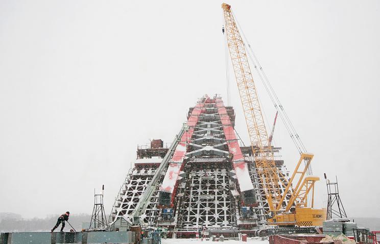 Строительство Бугринского моста через Новосибирск. Архив