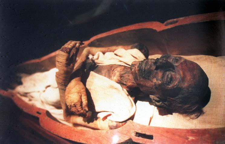Мумия фараона Рамзеса II Великого в экспозиции Египетского музея в Каире