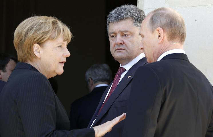 Слева направо: Ангела Меркель, Петр Порошенко, Владимир Путин