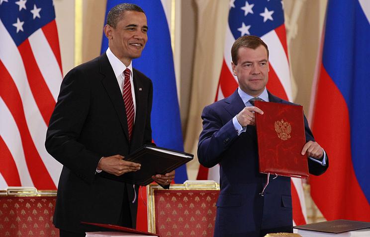 Барак Обама и Дмитрий Медведев после подписания Договора СНВ-3, 2010 год