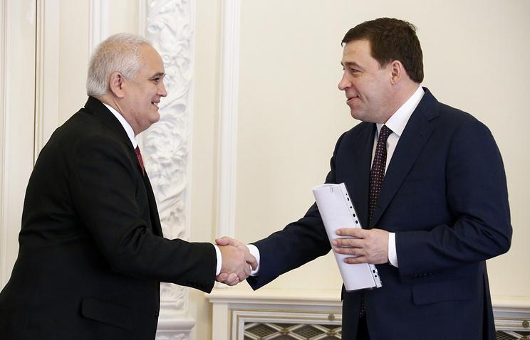 Посол Кубы в РФ Эмилио Гарсия Лосада и губернатор Свердловской области Евгений Куйвашев (слева направо)