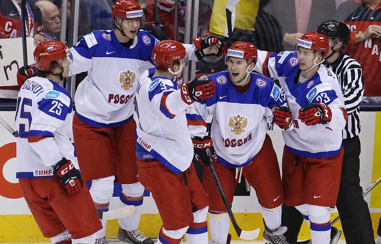 Хоккеисты молодежной сборной России на ЧМ в Канаде