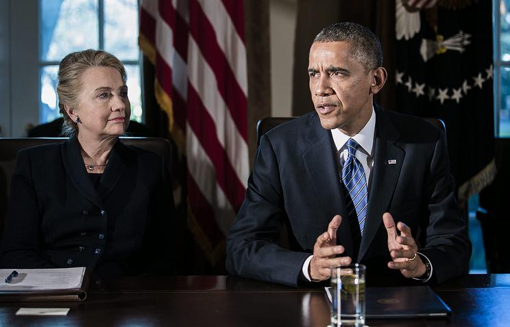 Президент США Барак Обама и экс-госсекретарь Хилари Клинтон