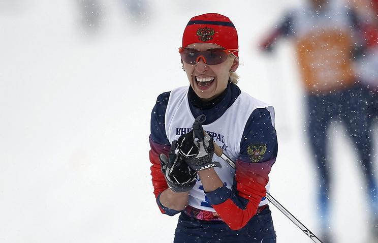 Михалина Лысова после спринтерской гонки на 1 км среди женщин с нарушением зрения на XI Паралимпийских играх в Сочи