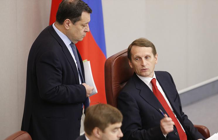 Председатель комитета Госдумы РФ по бюджету и налогам Андрей Макаров и спикер Госдумы РФ Сергей Нарышкин