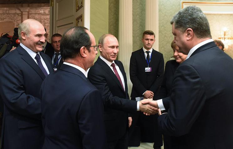 Президент Белоруссии Александр Лукашенко, президент Франции Франсуа Олланд, президент РФ Владимир Путин и президент Украины Петр Порошенко, 11 февраля 2015 года