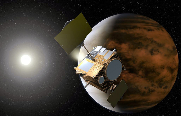 """3D-изображение японского космического зонда """"Акацуки"""" на орбите Венеры, созданное художником Акихиро Икешита"""