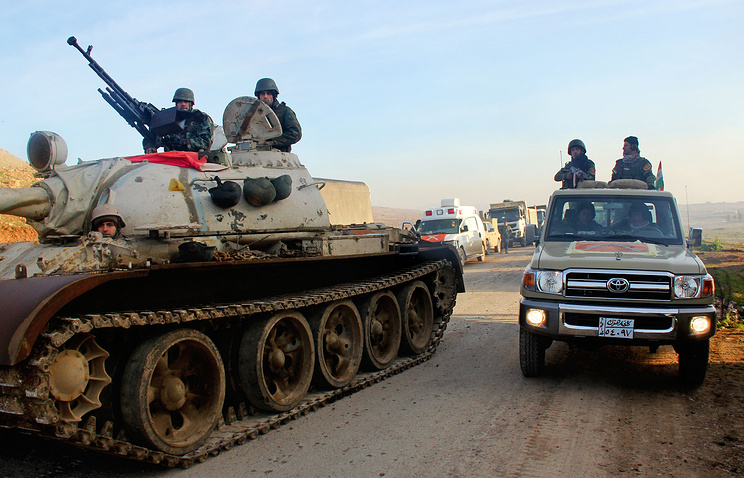 Бойцы курдских формирований пешмерга во время спецоперации в районе Мосула