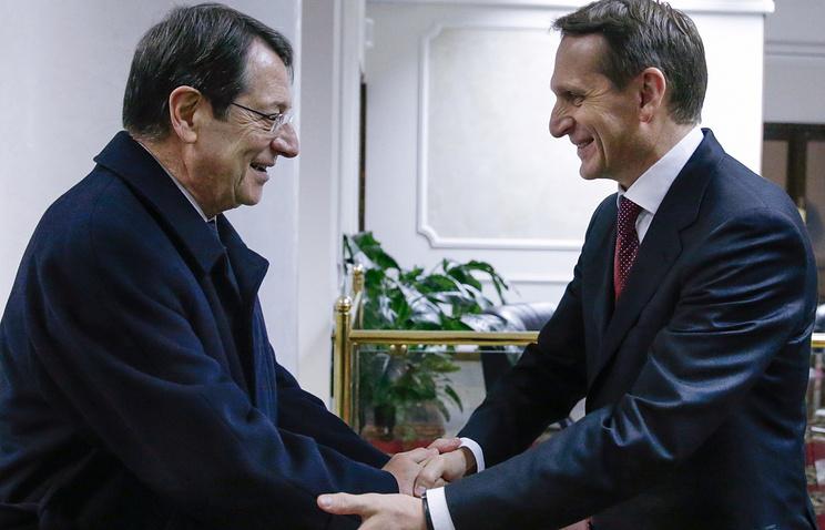 Президент Кипра Никос Анастасиадис и председатель Государственной Думы РФ Сергей Нарышкин