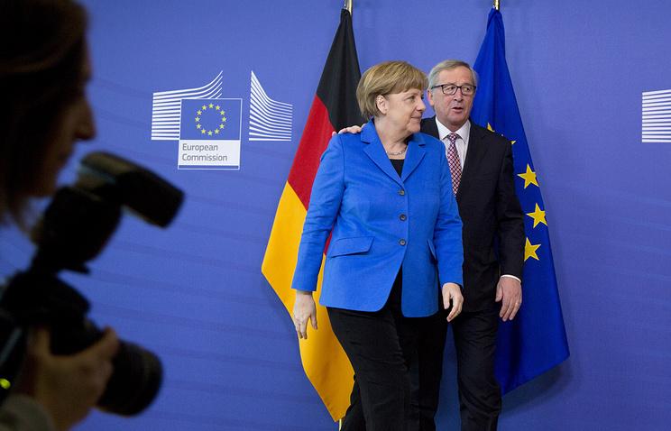 Канцлер Германии Ангела Меркель с главой Еврокомиссии Жан-Клодом Юнкером