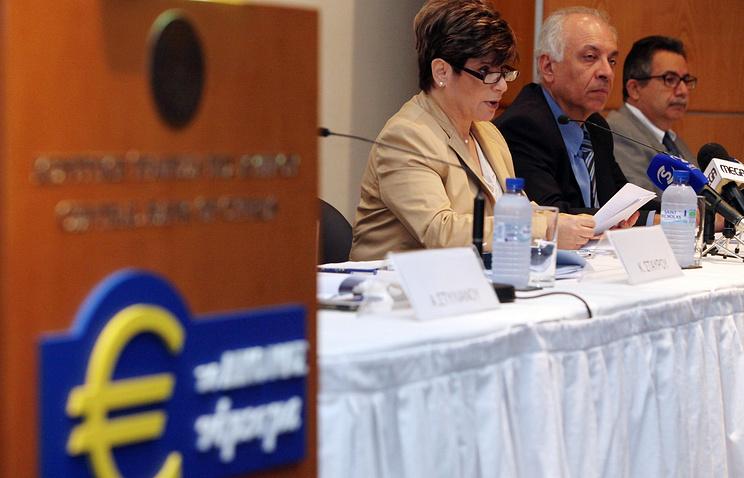 Глава Центрального банка республики Кипр Христалла Георгаджи (слева)  на пресс-конференции ЕЦБ