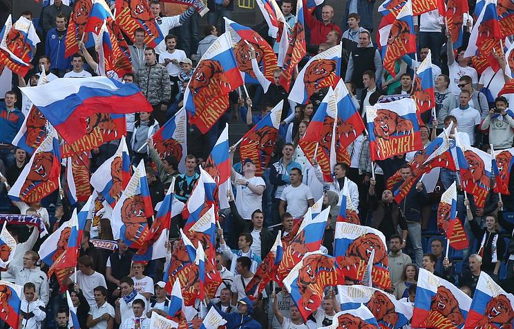 Болельщики сборной России на  матче чемпионата мира по футболу