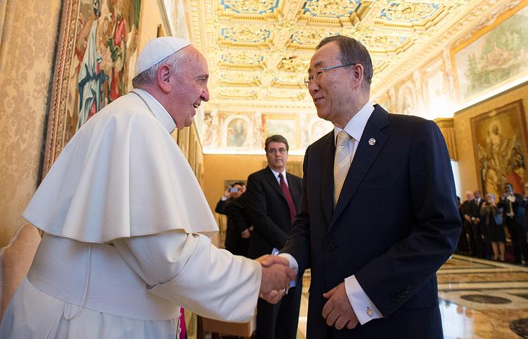 Встреча папы Франциска и Пан Ги Муна в Ватикане 9 мая 2014 года