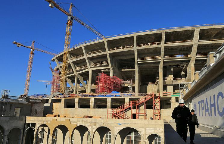 Строительство стадиона на Крестовском острове в Санкт-Петербурге