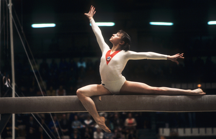 Мария Филатова на соревнованиях по спортивной гимнастике в Риге , 1979 год
