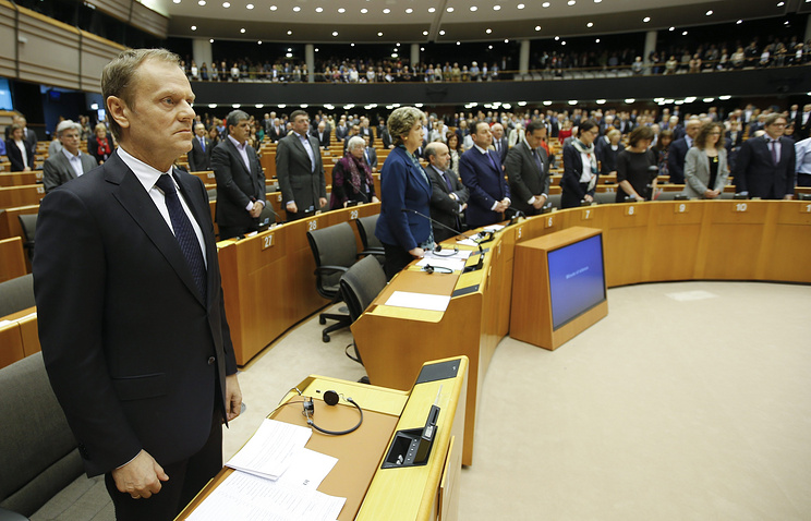 Глава Евросовета Дональд Туск во время сессии Европарламента, 25 марта