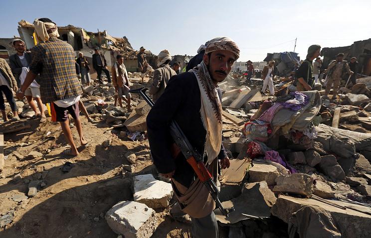 Последствия авиаударов  в Сане