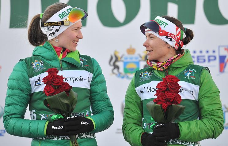 Белорусские спортсменки Дарья Домрачева и Надежда Скардино (слева направо)