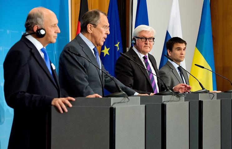 Министры иностранных дел Франции, России, Германии и Украины Лоран Фабиус, Сергей Лавров, Франк-Вальтер Штайнмайер и Павел Климкин